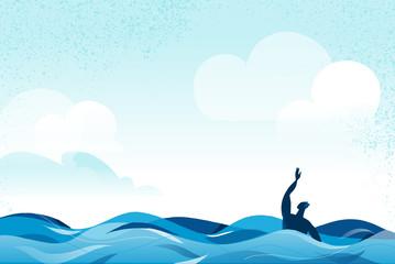 Naufrago alla deriva in mare aperto che chiede aiuto