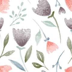 hand drawn watercolor flowers and leaves seamless pattern
