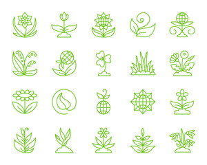 Garden simple color line icons vector set