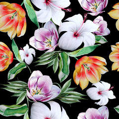 Bright seamless pattern with flowers. Tulip. Hibiscus. Watercolor illustration. Hand drawn.