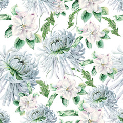 Bright seamless pattern with flowers. Blossom. Chrysanthemum. Watercolor illustration. Hand drawn.