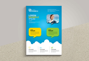 Teal and White Flyer Layout with Yellow Accents