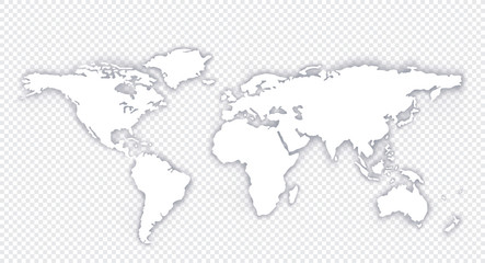 World Map Globe with shadow on a Isolated background - stock vector.