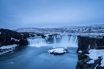 Stunning view of Godafoss Waterfall in the morning on e of the landmark in Iceland
