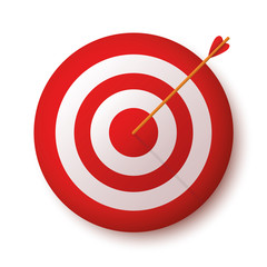 Target with arrow, standing on a tripod. Vector image of the arrow is exactly on the target - stock vector.