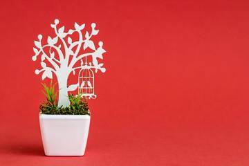 Laser Cut Wooden Tree Embellishments in White Porcelain Flower Pots