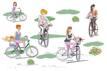 Beatiful fashion women on the bicycle with flowers. Hand drawn vector illustration.