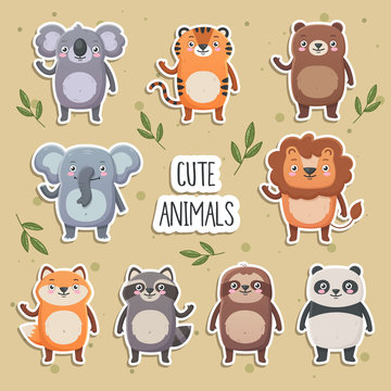 Cute smiling animals set. Lion, panda, koala, tiger, bear, fox, sloth, raccoon. Simple flat style, vector  illustrations on yellow background