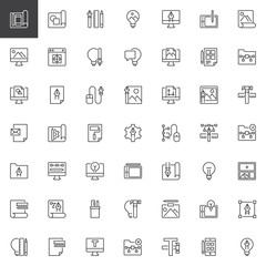 Creativity and design outline icons set