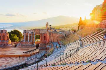 Sunset at Greek theater of Taormina Sicily Fototapete