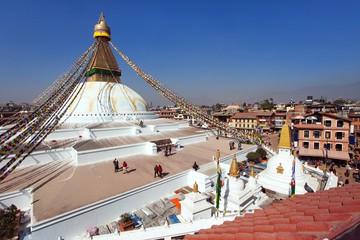 stupa with prayer flags