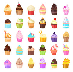 Set of cupcakes on white background. Sweet pastries decorated with fruit, chocolate, sprinkles. Vector illustration.