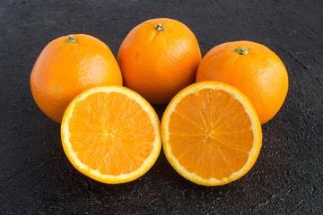 five juicy oranges