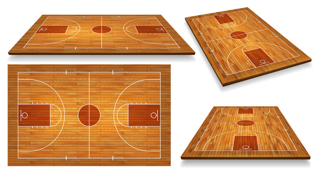 Set Perspective Basketball court floor with line on wood texture background. Vector illustration