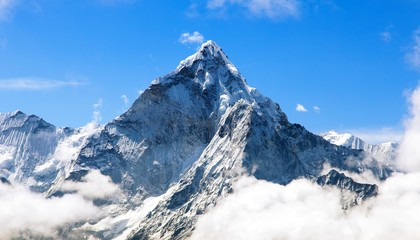 Mount Ama Dablam within clouds