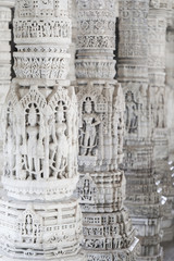 Ancient Architectural Ornament, Stone Carving Decorations Inside Ranakpur Jain Temple in Rajasthan, India