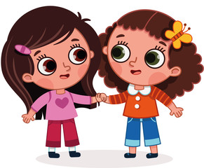Vector illustration of two cute girls holding hands. Cartoon image with friendship theme.