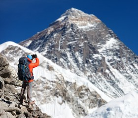 Mount Everest 8848m from Kala Patthar with tourist