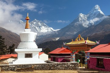 Tengboche Monastery with stupa and mount Everest