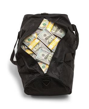 Duffel Bag Full of Money Top View