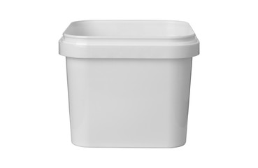 white plastic square container on white background