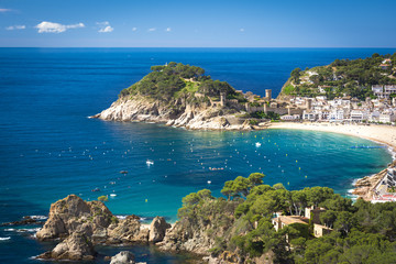 Spanish mediterranean coast at the Costa Brava with village Tossa de Mar and his medieval
