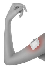 Woman bandaging  and first aid her beautiful Healthy upper arm on pain area black and white color with red highlighted, Pained body Concept, isolated on white background