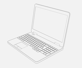 laptop Computer 3D Drawing on white background