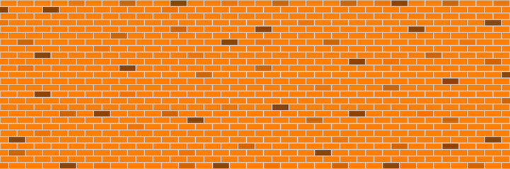 Wall Mural - horizontal retro orange brick wall for pattern and background,vector illustration