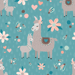 Vector Teal Mama Llama Seamless Pattern Background