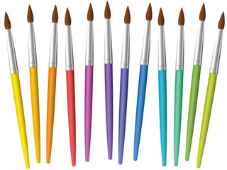 Paintbrushes loosely arranged. Set of twelve rainbow colored thin paint brushes - isolated vector illustration on white background.