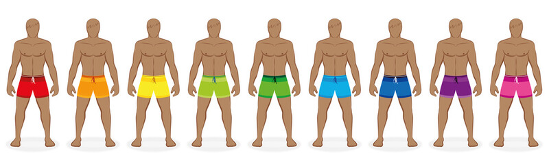 Swim trunks. Rainbow colored collection of beachwear for nine men - red, orange, yellow, green, blue, purple, pink. Isolated vector illustration on white background.