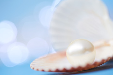 pearls on the blue background