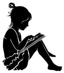 Silhouette cute little girl reading book
