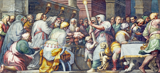 Wall Mural - PARMA, ITALY - APRIL 16, 2018: The fresco The Circumcision of Jesus in Duomo by Lattanzio Gambara (1567 - 1573).