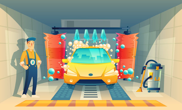 Vector automatic car washing, service with cartoon character in box, yellow vehicle inside the garage. Cleaning transport by liquid detergent, brushes and working staff. Open washing room with worker