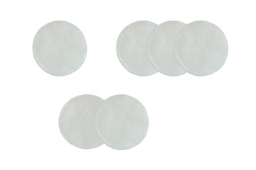 Cotton pads isolated on white background.