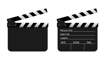 Film clapper board on white background. Vector
