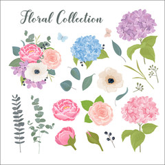 Floral collection with leaves and flowers in watercolor style. Spring or summer design elements for greeting card, wedding invitation, save the date, birthday and other holiday, summer background