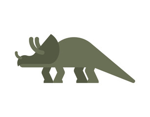 Triceratops dinosaur isolated. Ancient animal. Dino prehistoric monster. Beast is Jurassic period. Vector illustration.