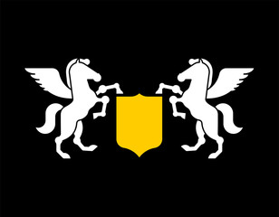 Pegasus and Shield heraldic symbol. Sign Animal for coat of arms. Royal Horse Vector illustration