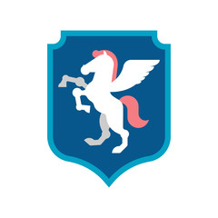 Pegasus Shield heraldic symbol. Sign Animal for coat of arms. Royal Horse Vector illustration