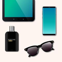 Desktop, tablet, telephone, glasses, perfume, presentations, top view