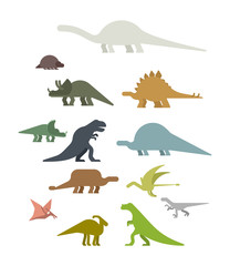 Dinosaur Set. Ancient animal.  Beast is Jurassic period. Vector illustration.
