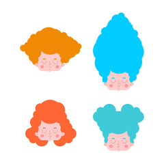 Little girl set hairstyles. Colorful hair. Vector illustration