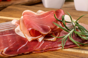 Thinly sliced German black forest ham.