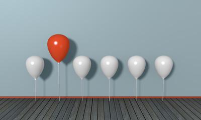 roter großer Luftballon unter kleinen weißen, Konzept aus der Masse abheben. 3d render