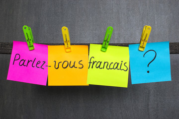 Colorful notes with question Do you speak French on the dark background. Wall mural