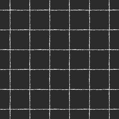 Black and white checked, square, plaid, lattice vector seamless pattern. Vertical and horizontal thin white brush stripes on black backdrop. Chequered monochrome geometrical background. Rough edges.