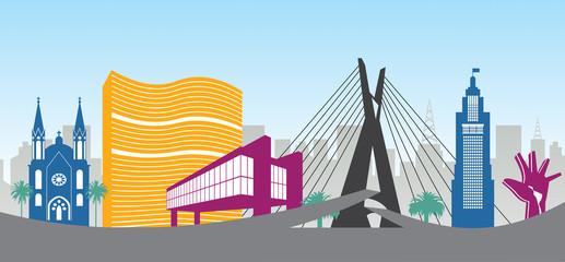 ilustração dos principais pontos turísticos da cidade de São Paulo